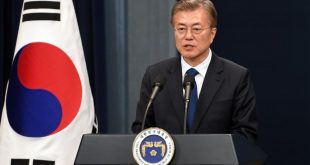 South Korea's new President Moon Jae-In speaks during a press conference at the presidential Blue House in Seoul on May 10, 2017.  Moon was sworn in just a day after a landslide election victory, and immediately declared his willingness to visit Pyongyang amid high tensions with the nuclear-armed North. / AFP PHOTO / POOL / JUNG YEON-JE