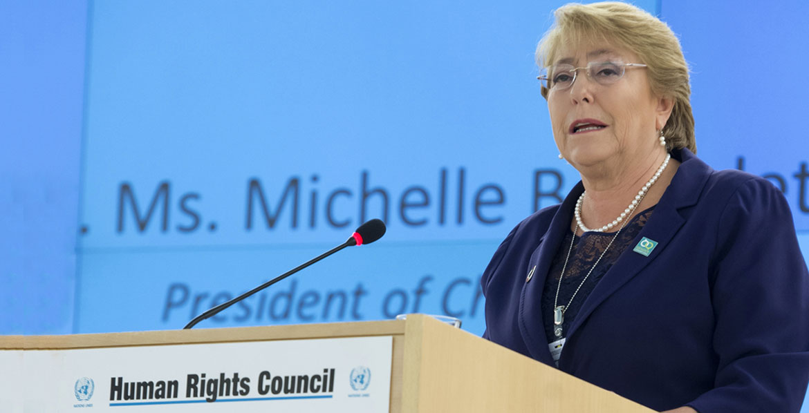 Michele Bachelet, Presidente of Chile speaks during Special Session of the Human Rights Council. 29 March 2017.